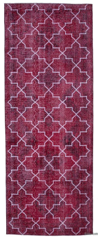 "Embroidered Over-dyed Turkish Vintage Runner - 4'9"" x 12'6"" (57 in. x 150 in.)"