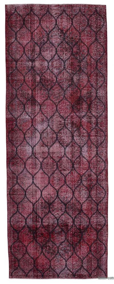 Red Embroidered Over-dyed Turkish Vintage Runner - 4'8'' x 12'8'' (56 in. x 152 in.)