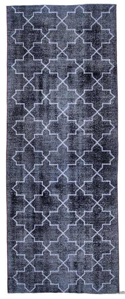 Embroidered Over-dyed Turkish Vintage Runner - 4'9'' x 12'7'' (57 in. x 151 in.)