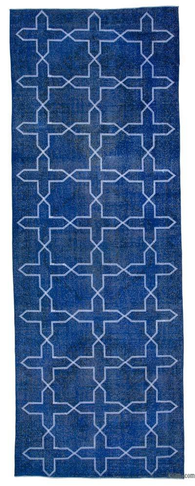 "Embroidered Over-dyed Turkish Vintage Runner - 4'9"" x 13'2"" (57 in. x 158 in.)"