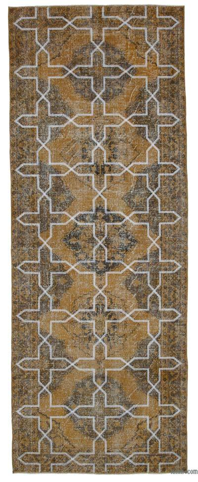 "Embroidered Over-dyed Turkish Vintage Runner - 4'9"" x 12'8"" (57 in. x 152 in.)"