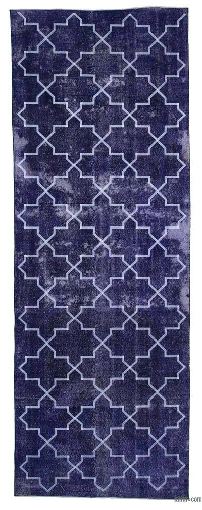 "Embroidered Over-dyed Turkish Vintage Runner - 4'6"" x 12'8"" (54 in. x 152 in.)"