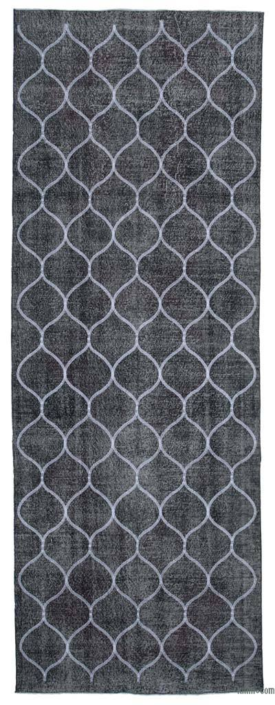 Grey Embroidered Over-dyed Turkish Vintage Runner - 4'8'' x 13' (56 in. x 156 in.)