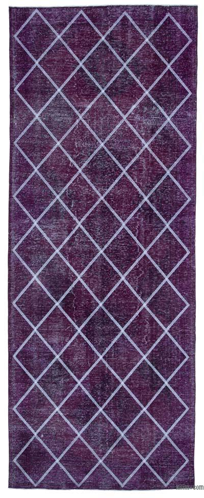 Embroidered Over-dyed Turkish Vintage Runner - 4'7'' x 12' (55 in. x 144 in.)