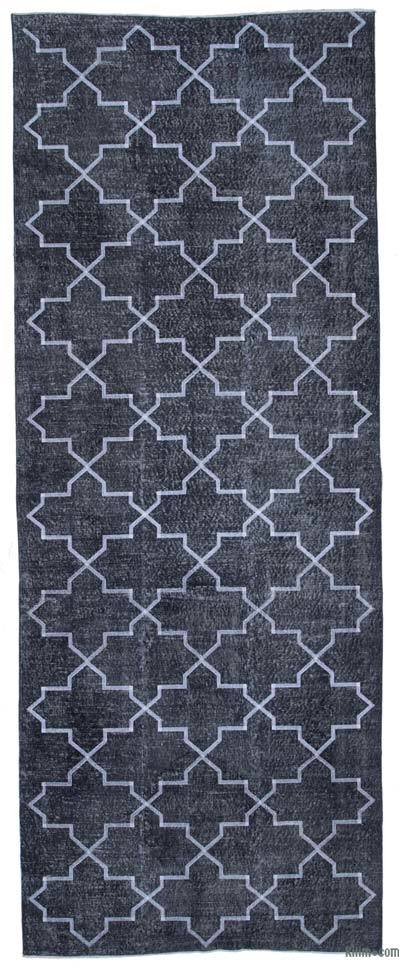 Grey Embroidered Over-dyed Turkish Vintage Runner - 4'10'' x 12'9'' (58 in. x 153 in.)