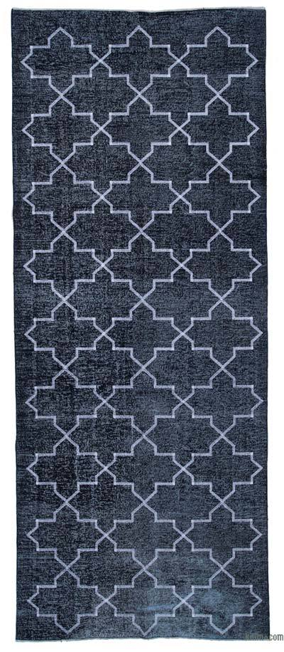 "Embroidered Over-dyed Turkish Vintage Runner - 4'11"" x 12'2"" (59 in. x 146 in.)"