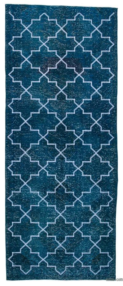 "Embroidered Over-dyed Turkish Vintage Runner - 4'9"" x 11'7"" (57 in. x 139 in.)"