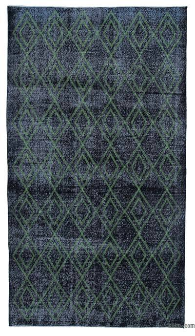 "Embroidered Over-dyed Turkish Vintage Runner - 5'3"" x 9'5"" (63 in. x 113 in.)"