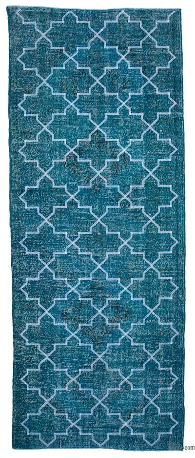 "Embroidered Over-dyed Turkish Vintage Runner - 5' x 12'7"" (60 in. x 151 in.)"