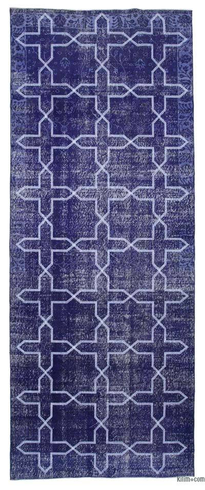 "Embroidered Over-dyed Turkish Vintage Runner - 4'9"" x 12' (57 in. x 144 in.)"