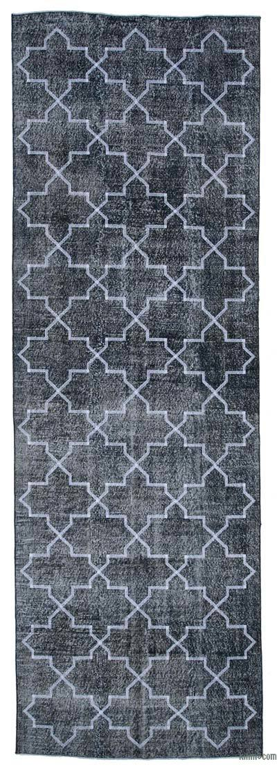 "Embroidered Over-dyed Turkish Vintage Runner - 4'5"" x 13'6"" (53 in. x 162 in.)"