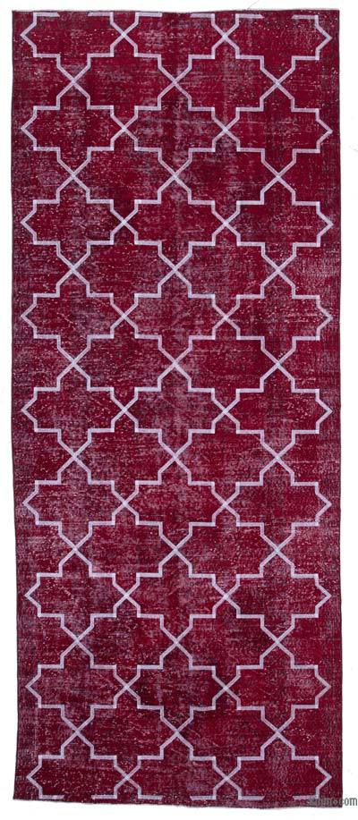 Embroidered Over-dyed Turkish Vintage Runner - 4'7'' x 11'3'' (55 in. x 135 in.)