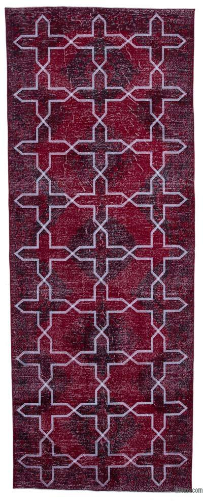 Embroidered Over-dyed Turkish Vintage Runner - 4'7'' x 12'2'' (55 in. x 146 in.)