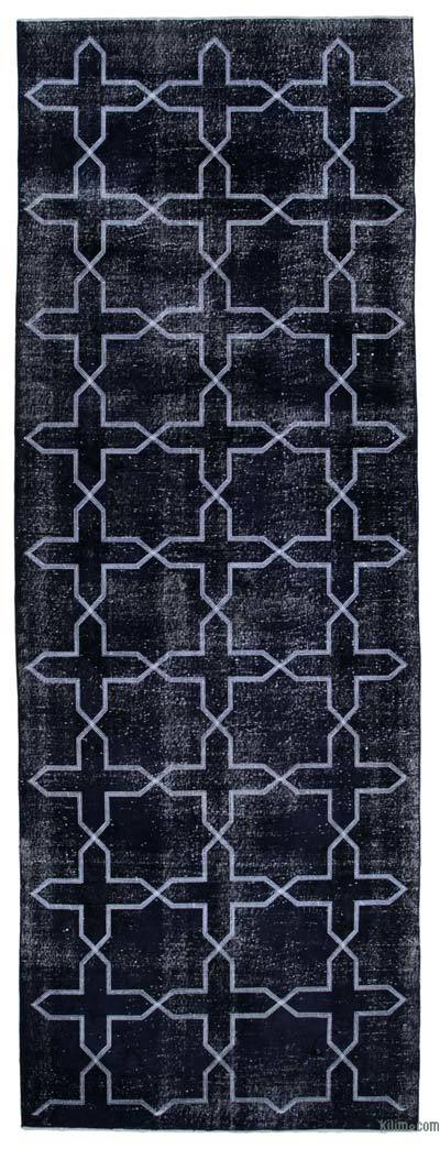 "Embroidered Over-dyed Turkish Vintage Runner - 4'7"" x 12'10"" (55 in. x 154 in.)"