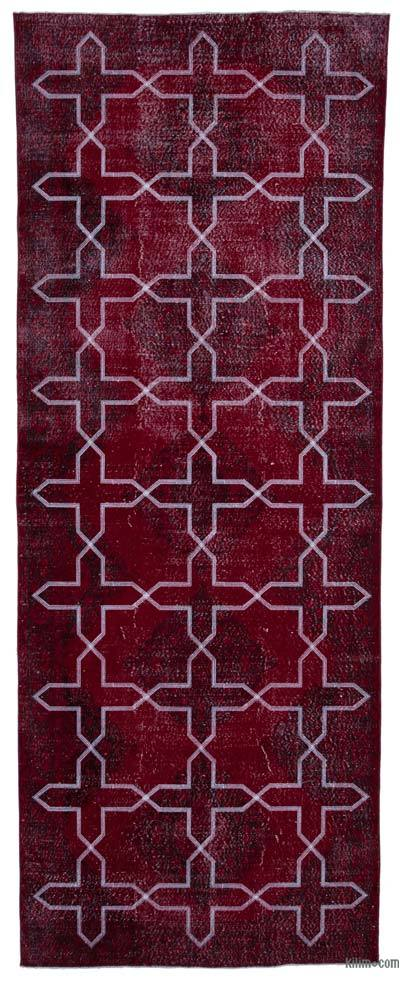 "Embroidered Over-dyed Turkish Vintage Runner - 4'8"" x 12'4"" (56 in. x 148 in.)"