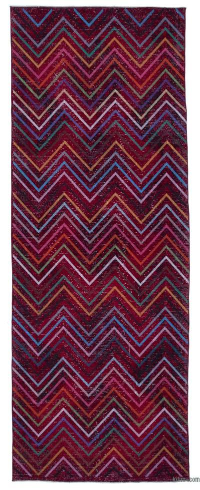 "Embroidered Over-dyed Turkish Vintage Runner - 4'7"" x 12'4"" (55 in. x 148 in.)"