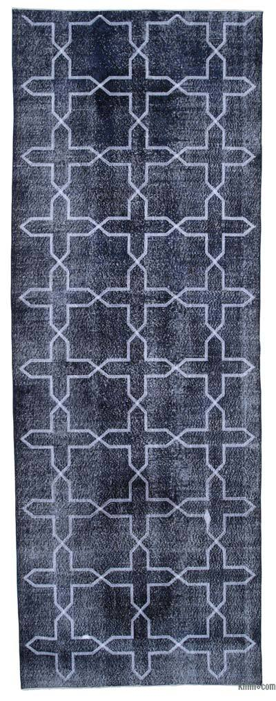 "Embroidered Over-dyed Turkish Vintage Runner - 4'7"" x 12'7"" (55 in. x 151 in.)"