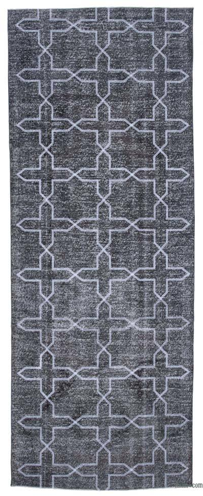 Grey Embroidered Over-dyed Turkish Vintage Runner - 4'10'' x 12'8'' (58 in. x 152 in.)