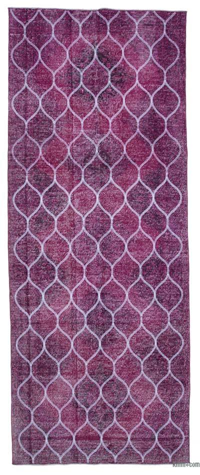 "Embroidered Over-dyed Turkish Vintage Runner - 4'10"" x 12'4"" (58 in. x 148 in.)"
