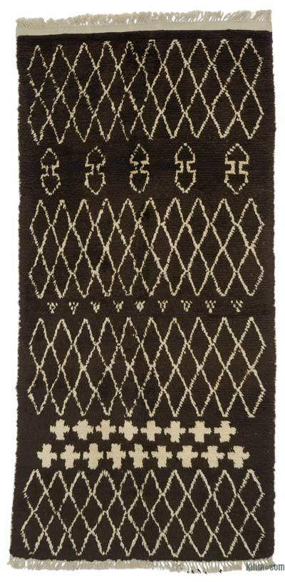 Brown, Beige New Contemporary Hand-Knotted Wool Area Rug - 3'11'' x 8'1'' (47 in. x 97 in.)