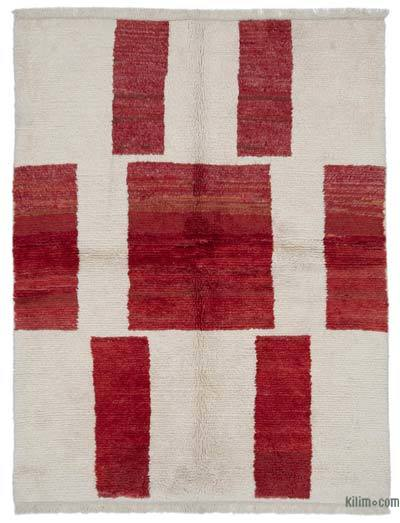 Beige, Red New Contemporary Hand-Knotted Wool Area Rug - 6'7'' x 8'8'' (79 in. x 104 in.)