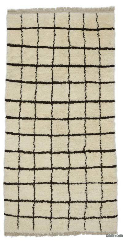 New Contemporary Hand-Knotted Wool Area Rug - 3'9'' x 7'7'' (45 in. x 91 in.)