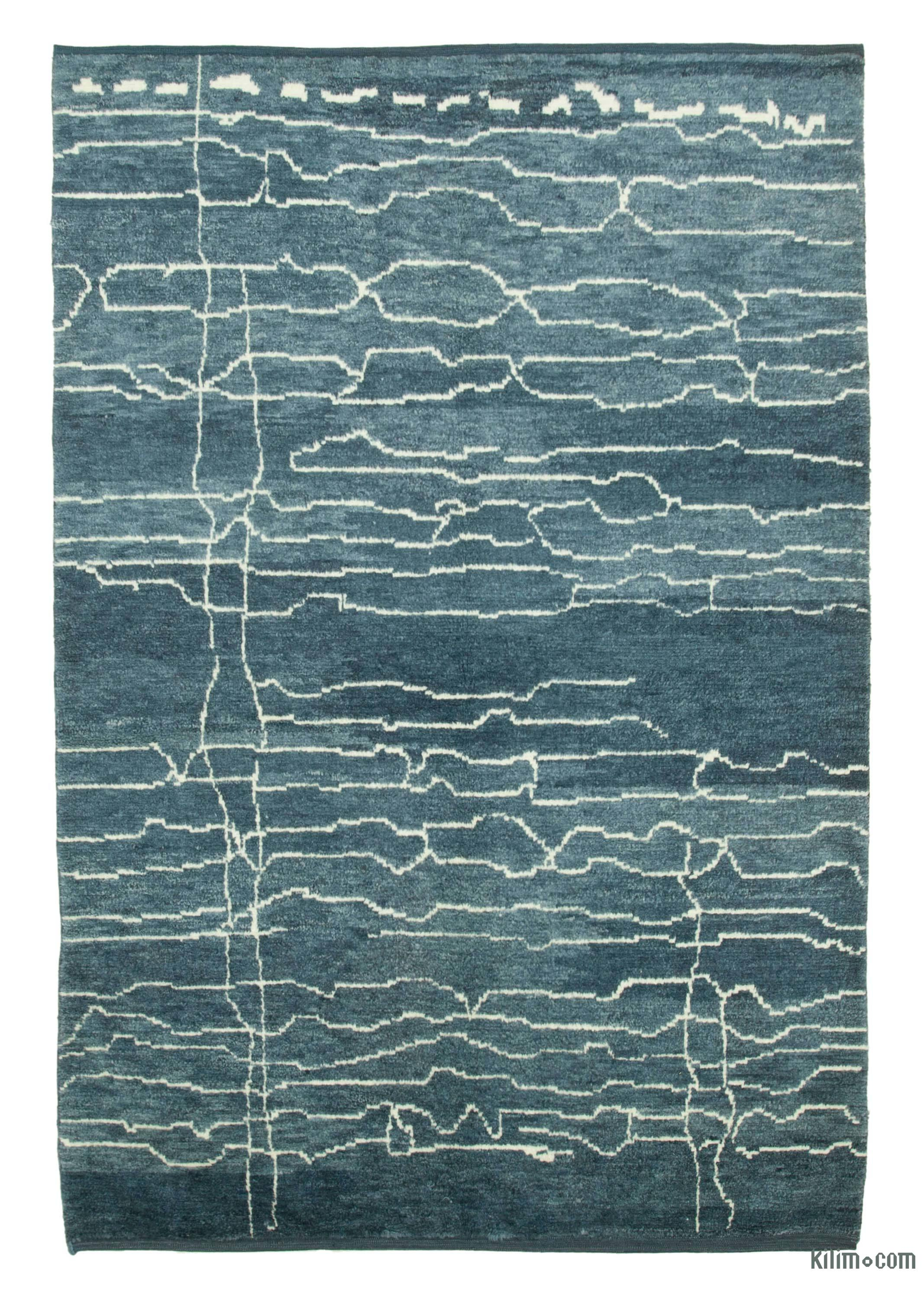 Blue New Contemporary Hand Knotted Wool Area Rug 6 4 X 9 2 76 In X 110 In