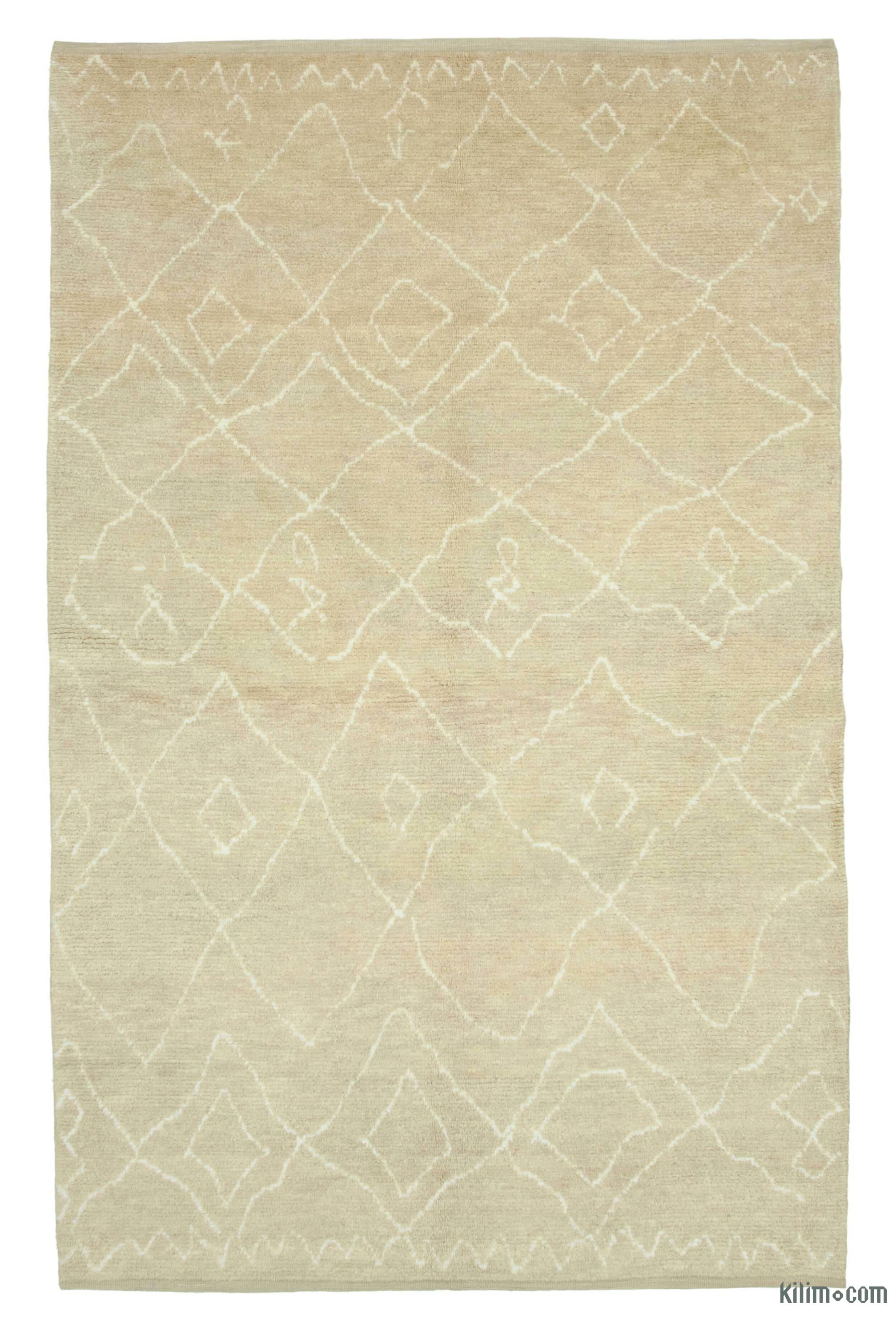 Beige New Contemporary Hand Knotted Wool Area Rug 6