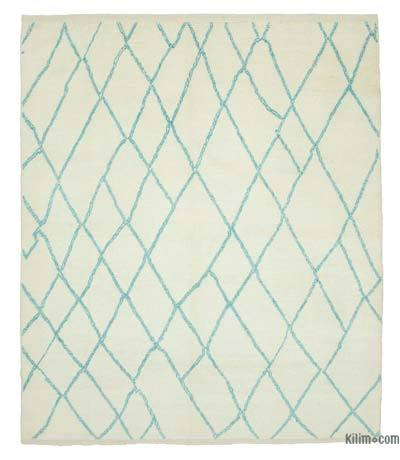 Turquoise New Contemporary Hand-Knotted Wool Area Rug - 8'2'' x 9'2'' (98 in. x 110 in.)