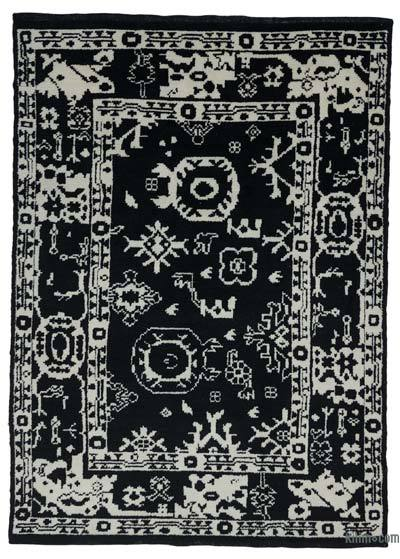 Black New Contemporary Hand-Knotted Wool Area Rug - 7'6'' x 10'3'' (90 in. x 123 in.)