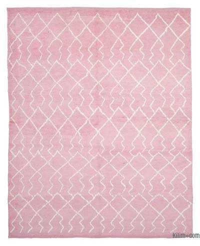 Pink New Contemporary Hand-Knotted Wool Area Rug - 8'2'' x 10'5'' (98 in. x 125 in.)