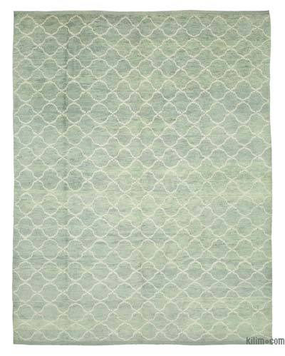 Blue New Contemporary Hand-Knotted Wool Area Rug - 9'2'' x 11'8'' (110 in. x 140 in.)