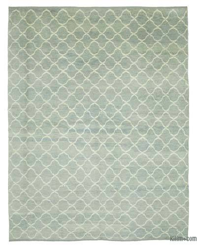 Blue New Contemporary Hand-Knotted Wool Area Rug - 8'11'' x 11'6'' (107 in. x 138 in.)