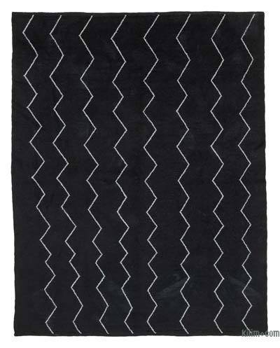 Black New Contemporary Hand-Knotted Wool Area Rug - 7'9'' x 9'9'' (93 in. x 117 in.)