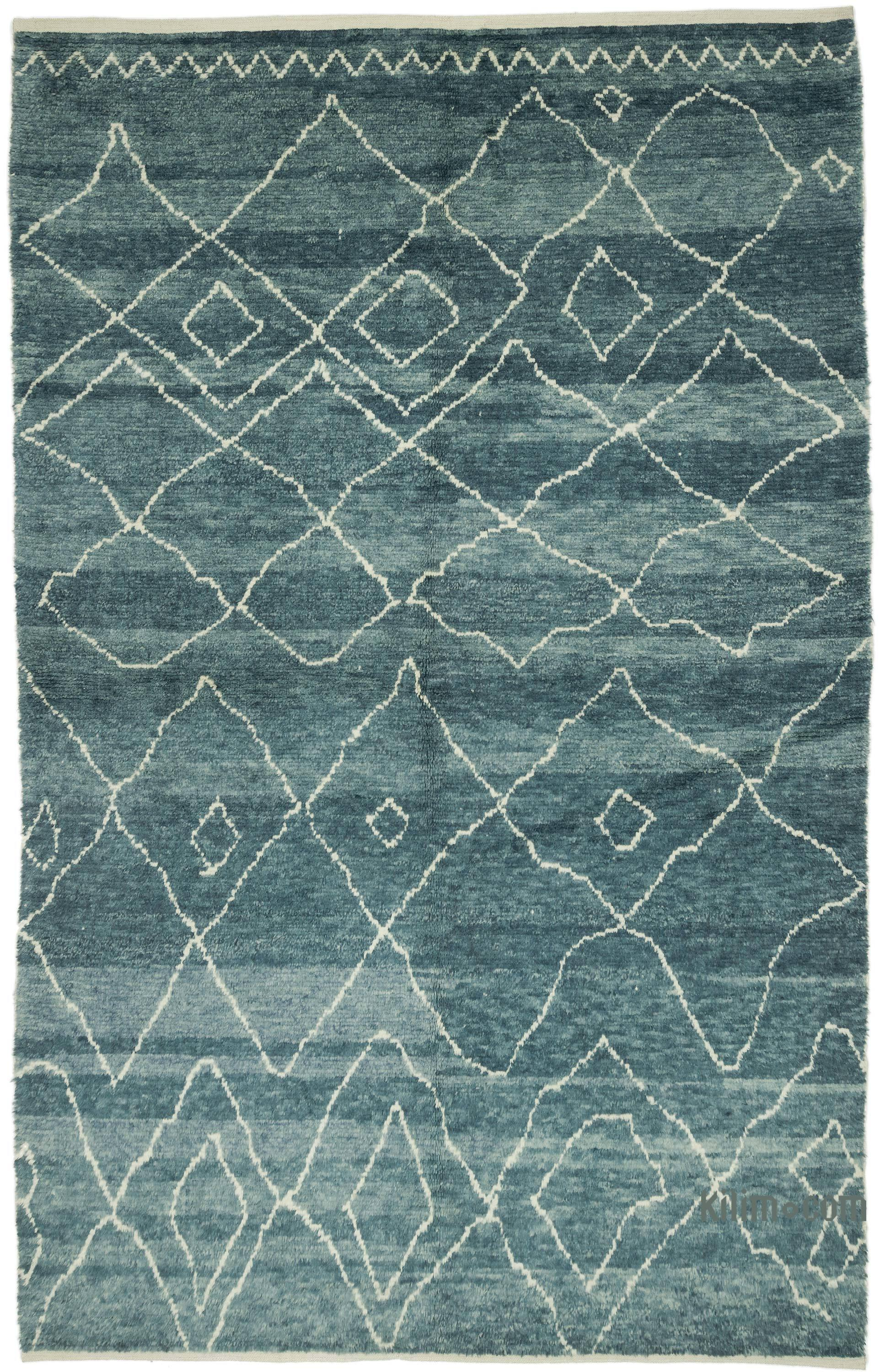 Blue New Contemporary Hand Knotted Wool Area Rug 6 5