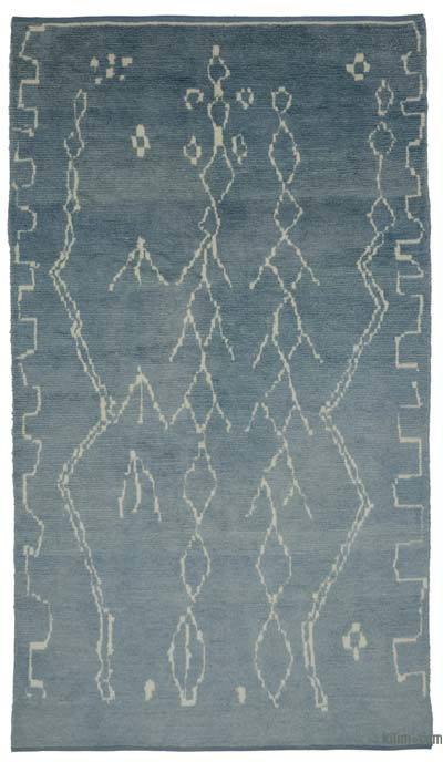 Blue New Contemporary Hand-Knotted Wool Area Rug - 6'3'' x 10'9'' (75 in. x 129 in.)
