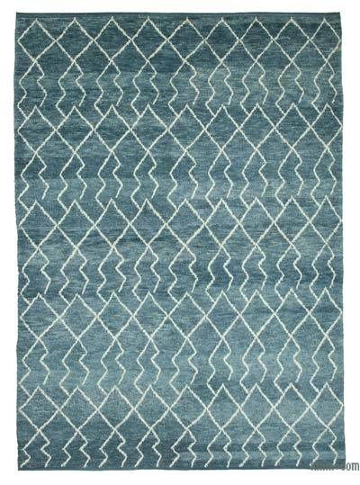 Blue New Contemporary Hand-Knotted Wool Area Rug - 7'4'' x 9'11'' (88 in. x 119 in.)