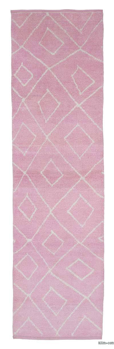 "New Contemporary Hand-Knotted Wool Runner Rug - 2'11"" x 9'10"" (35 in. x 118 in.)"