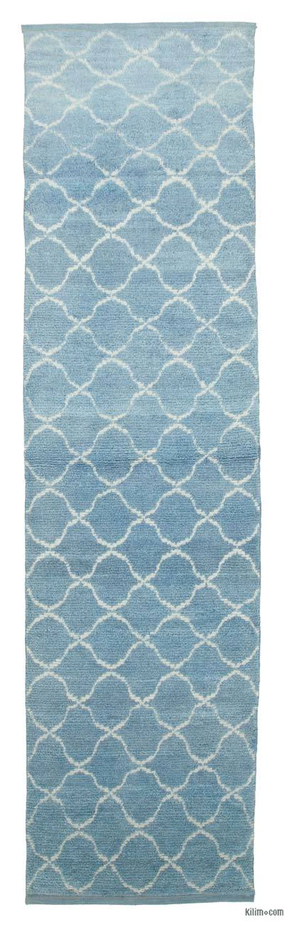 "New Contemporary Hand-Knotted Wool Runner Rug - 3'1"" x 11'10"" (37 in. x 142 in.)"