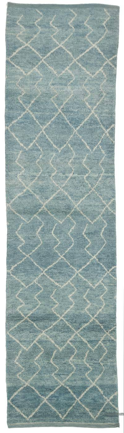 "New Contemporary Hand-Knotted Wool Runner Rug - 3'1"" x 11'11"" (37 in. x 143 in.)"