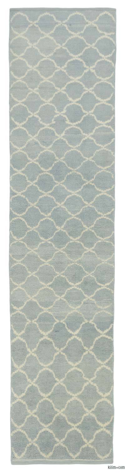 "New Contemporary Hand-Knotted Wool Runner Rug - 2'11"" x 12'6"" (35 in. x 150 in.)"