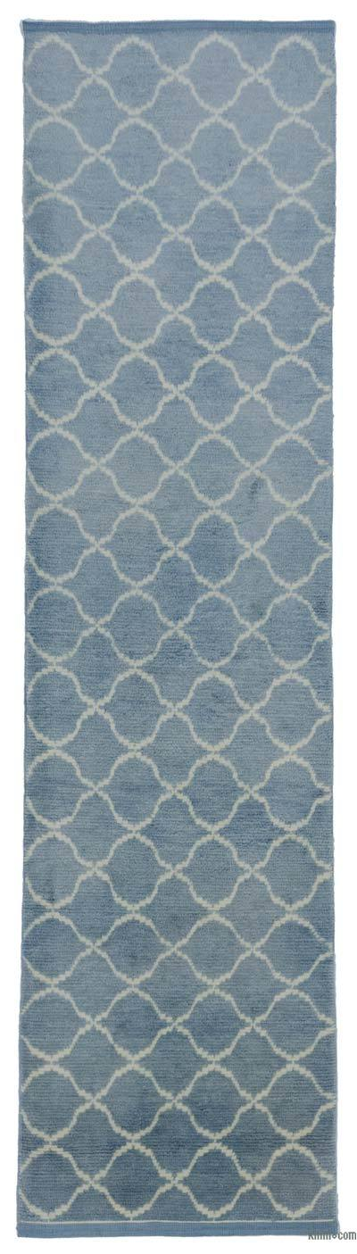 "New Contemporary Hand-Knotted Wool Runner Rug - 3'1"" x 12'4"" (37 in. x 148 in.)"
