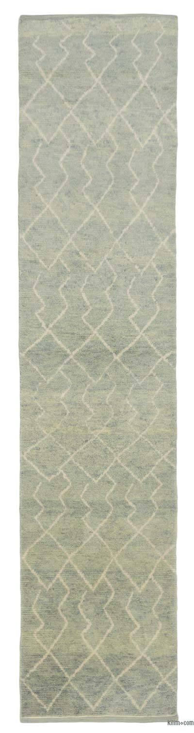 "New Contemporary Hand-Knotted Wool Runner Rug - 3' x 13'4"" (36 in. x 160 in.)"
