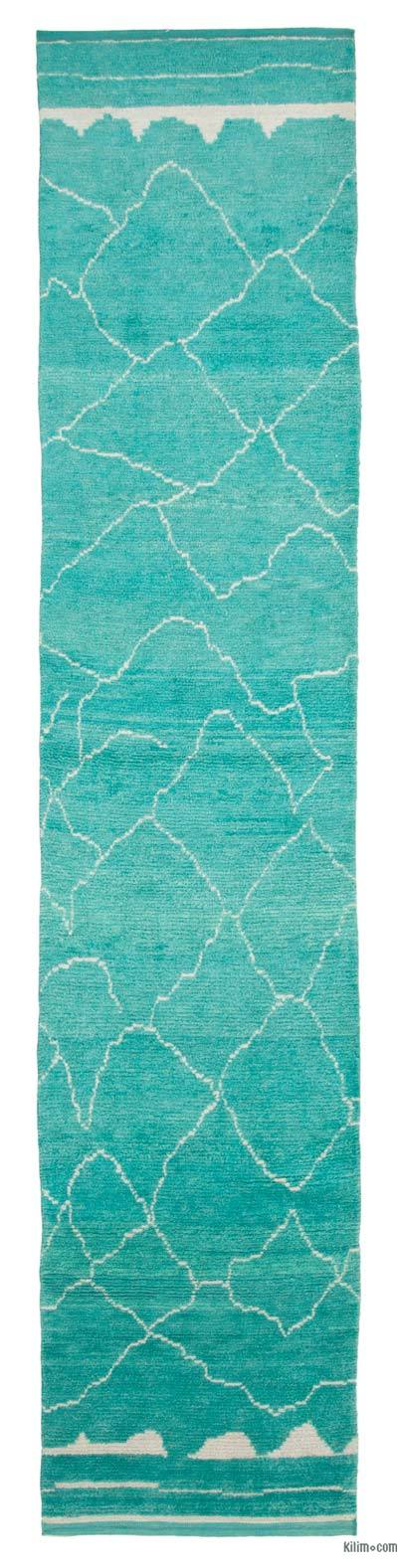 "New Contemporary Hand-Knotted Wool Runner Rug - 2'11"" x 14'7"" (35 in. x 175 in.)"