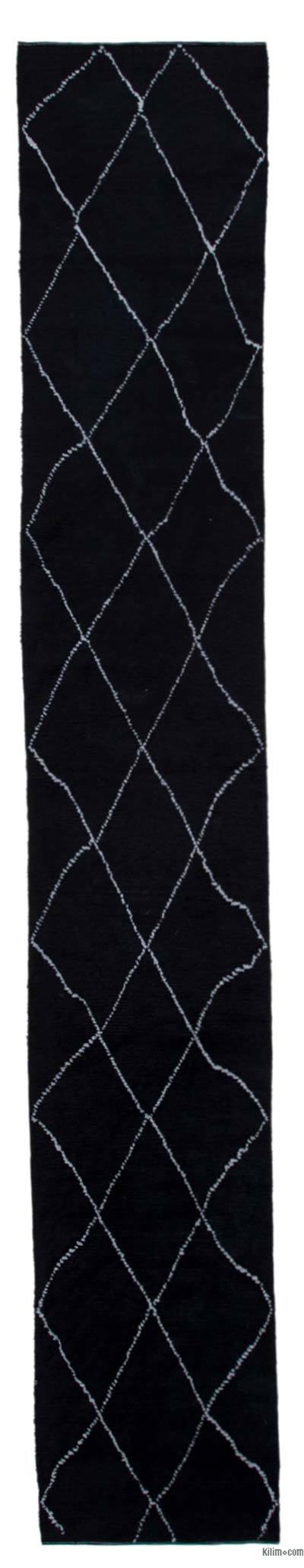 "New Contemporary Hand-Knotted Wool Runner Rug - 2'5"" x 15'2"" (29 in. x 182 in.)"