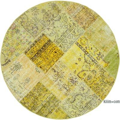 Yellow Round Over-dyed Turkish Patchwork Rug
