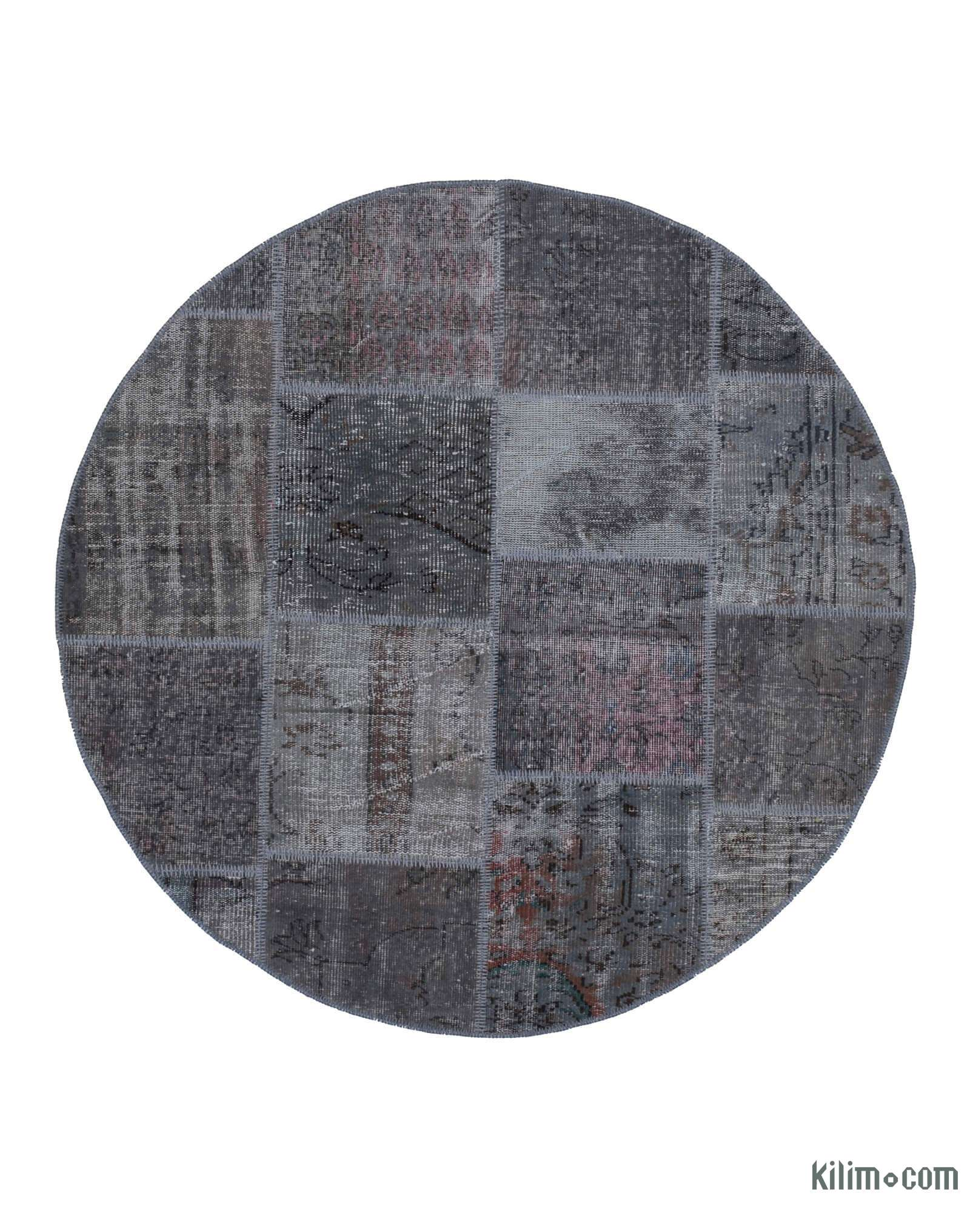 Grey Round Over Dyed Turkish Patchwork Rug