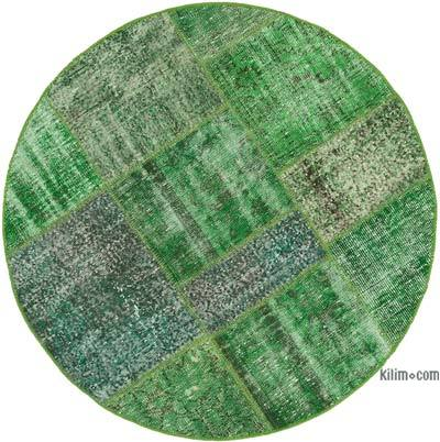 Green Round Over-dyed Turkish Patchwork Rug