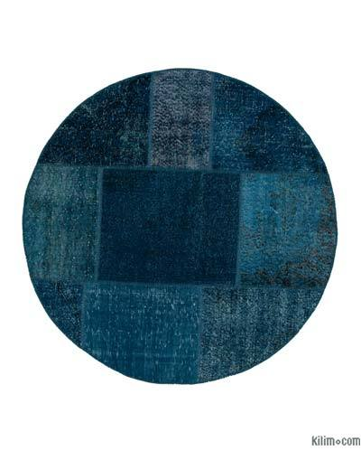 Turquoise Round Over-dyed Turkish Patchwork Rug
