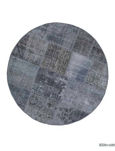 Grey Round Over-dyed Turkish Patchwork Rug